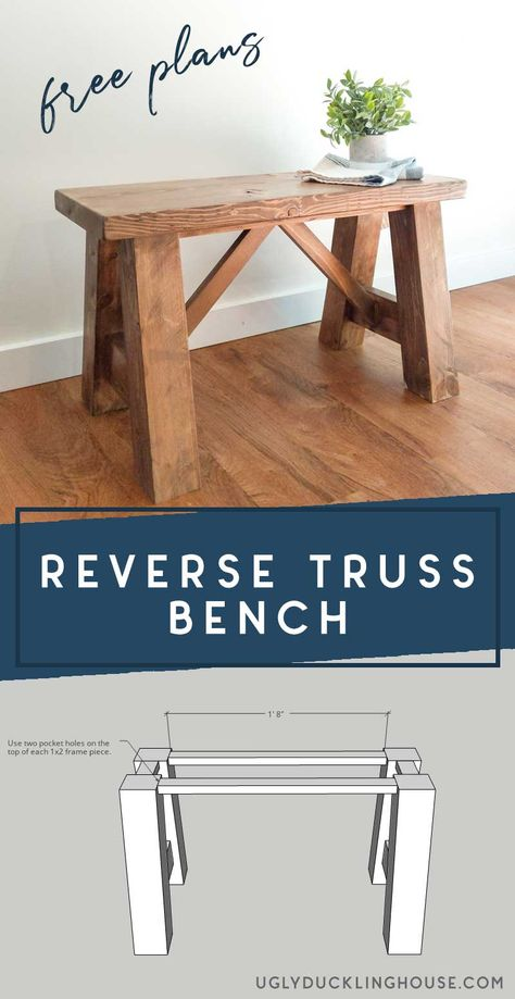 This reverse truss bench could look great almost anywhere, but it's a perfect fit for modern farmhouse entryways! Makes a great scrap wood project too. #scrapwood #diybench #bench #woodworking #kregjig #farmhouse #modernfarmhouse #mudroom #entryway