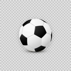 Realistic Football Soccer Ball Vector Design Element On Transparent Checkered Background Ad Ball Vector Soccer Real In 2020 Soccer Ball Soccer Vector Design