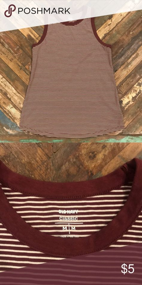 Old navy classic tank Old navy classic stripped maroon tank! Great condition, great for summer! Old Navy Tops Tank Tops