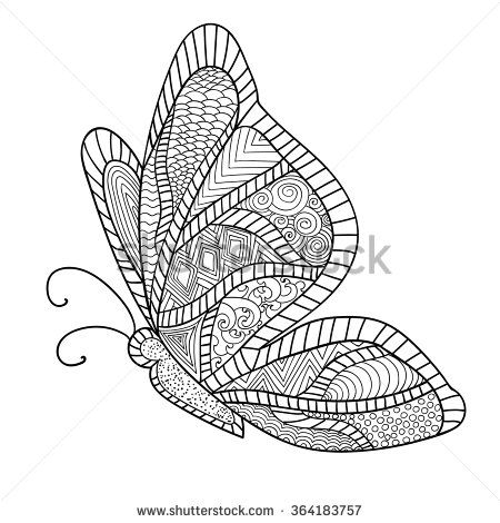 Detailed Ornamental Sketch Of A Moth Hand Drawn Zentangle For