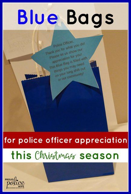 Show appreciation to police officers by making blue bags for police week or Christmas. You also get a free printable to attach to the bags!