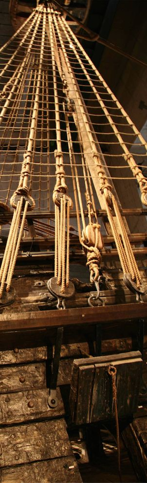 Miles of line that make up the standing rigging of a tall ship.                                                                                                                                                      More