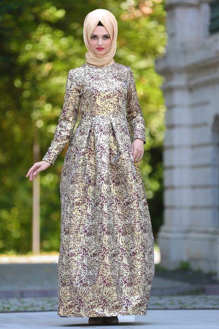 Tesettur Abiye Elbise Kemerli Jakarli Bordo Tesettur Abiye Elbise 24410br Tesetturisland Com Aksamustu Giysileri Elbise The Dress