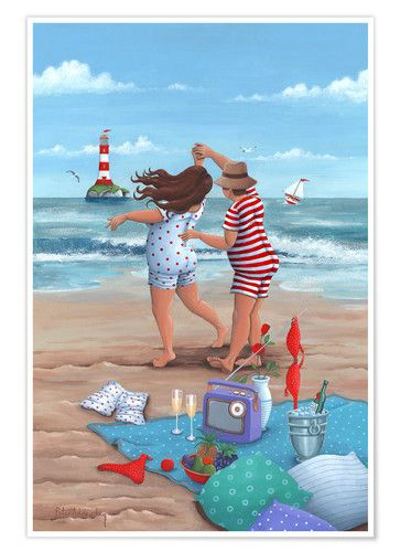 Beach dance (Variant 1) at Posterlounge ✔ Affordable shipping ✔ Secure payment ✔ Various materials & sizes ✔ Buy your print now!