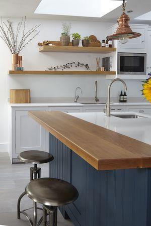 Blakes London Dark Blue Wooden Overhang Eclectic Kitchen Kitchen Remodel Home Kitchens