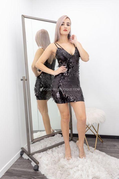 Julia  Detail Sequins Mini Dress