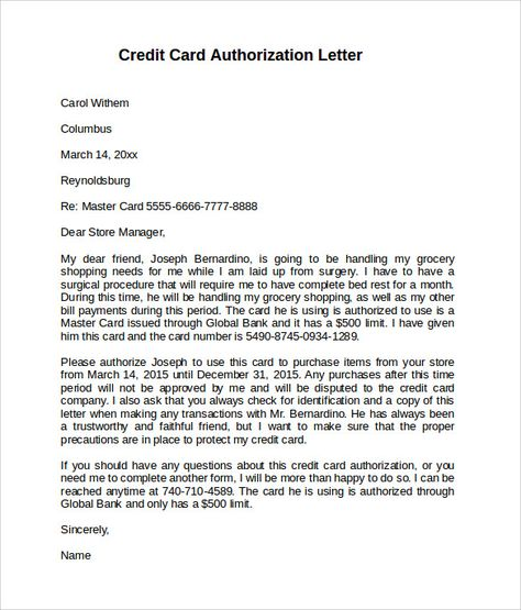 credit card authorization letter download documents pdf word for - creditcard authorization letter