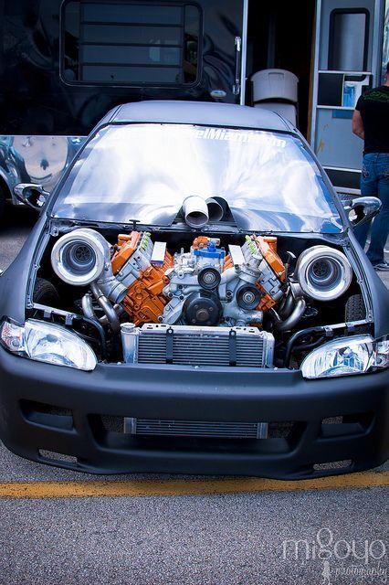 6.0 Powerstroke Twin Turbo Honda Civic. Ummm....wow...: | Honda | Pinterest  | Twin Turbo, Honda Civic And Honda