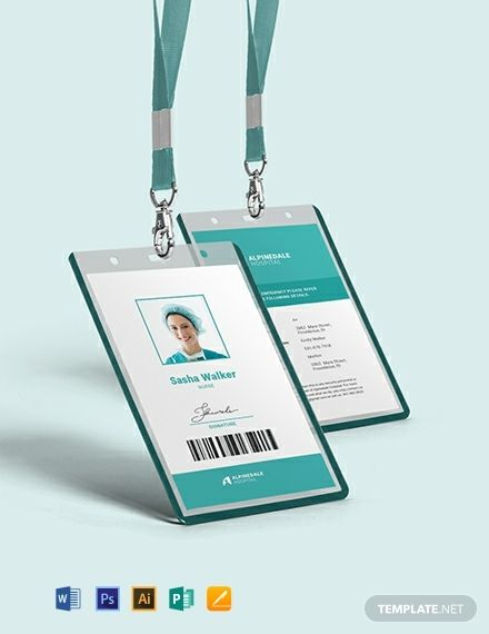 Hospital Staff Id Card Template Word Doc Psd Apple Mac Pages Illustrator Publisher Id Card Template Identity Card Design Business Card Template Design