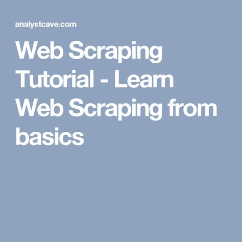 Web Scraping Tutorial - Learn Web Scraping from basics | web scraping