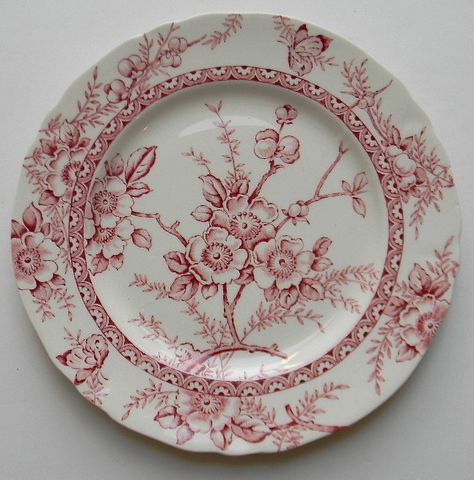 Alfred Meakin Medway Red Transferware Salad Plate Beautiful, airy transfer with Cherry or Dogwood Blossoms, berries and sweet butterflies around the rim. Measures: 7 Condition: Small chip on unde