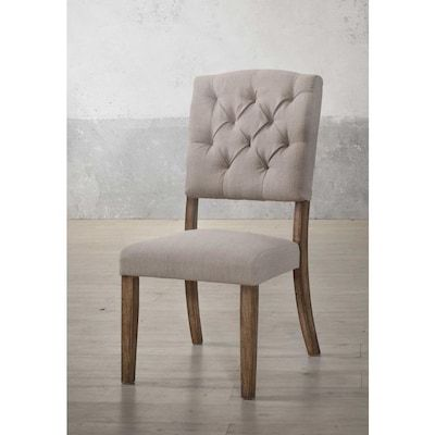 Homeroots Amelia Casual Linen Dining Side Chair Wood Frame Lowes Com Wood Side Chair Side Chairs Dining Upholstered Side Chair