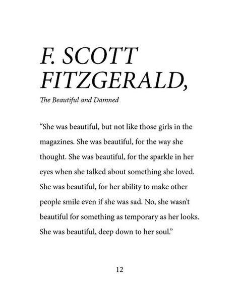 F. Scott Fitzgerald She Was Beautiful Down To Her Soul - Dorm Room, Little Girl Room, Office, Fine Art Print - DIGITAL COPY
