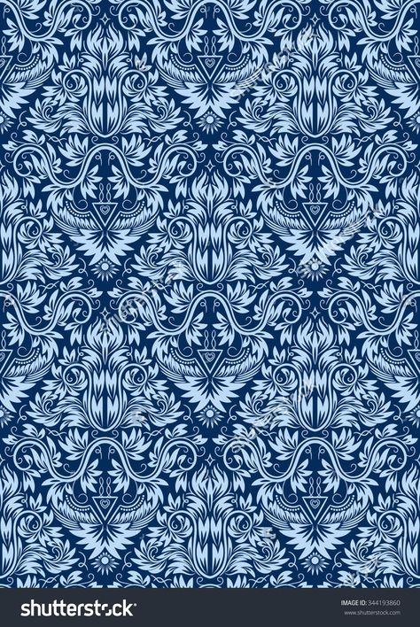 Damask Seamless Pattern Repeating Background Blue Floral Ornament In Baroque Style Background Vintage Damask Damask Pattern