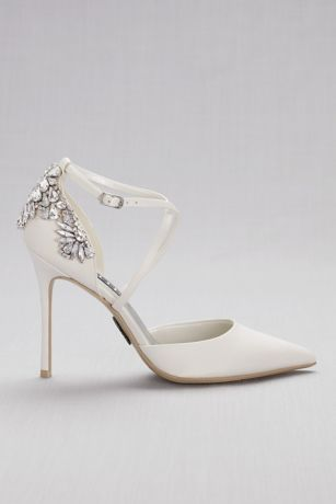 Pointed Toe Cross Strap Heels With Crystal Back David S Bridal Bridal Shoes Wedding Shoes Fun Wedding Shoes