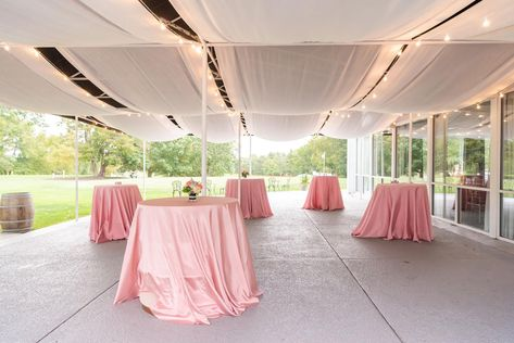 Our outdoor cocktail hour location is a beautiful blank canvas! Design your own centerpieces and add decorations to the blacktop! Our cafe lights will bring a sense of fairytale-ending to your pre-reception fun! #RonJaworskiWeddings #RamblewoodCountryClub #NewJerseyWedding#RusticWedding #WeddingVenue #NJWeddingVenue #NJWeddings #OutdoorCocktailHour #CafeLights #ModernWedding