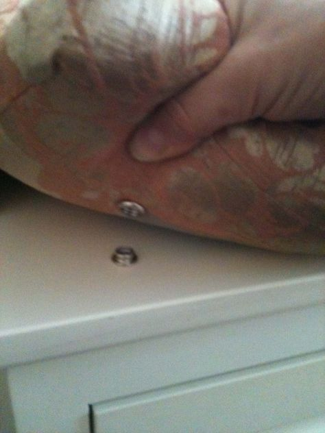 Reading Nook/ Sofa/ Spare bed: screw-snap attached to built-in window bench: stop the seat pad sliding!