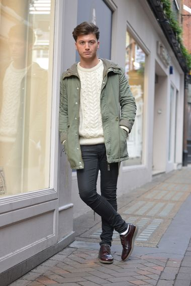 sale discount collection favorable price Wearing a cream cable knit jumper with a khaki jacket, black ...