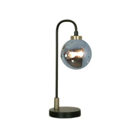 Crafted With A Black Base And Curved Stem This Table Lamp Features A Large Smoked Glass Sphere Which Turns Clear W Black Table Lamps Table Lamp Lamp
