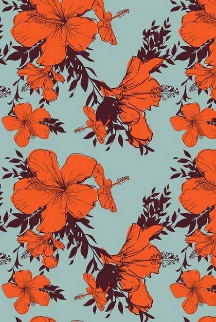 Flowers Orange Wallpaper Vintage Wallpapers 56 Trendy Ideas Floral Pattern Wallpaper Hand Illustration Orange Wallpaper