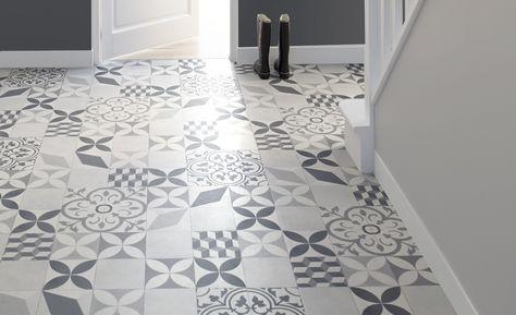Saint Maclou   Sol vinyle TEXAS NEW, carreau ciment gris et noir, rouleau 4 m - Les sols aspect carreaux de ciment - Collection Sol