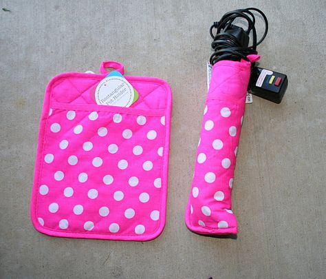 Pot holder sewn in half for hair straightener. Perfect for packing your straightener, even while its hot