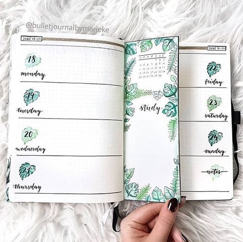 "✎bullet journaling ✎ on Instagram: ""this marks the end of our green theme💚 i love the dutch door and the leaves r just goals🌿🍃!! ~admin 🌻 creds😻: @bulletjournalbymarieke 💗…"""