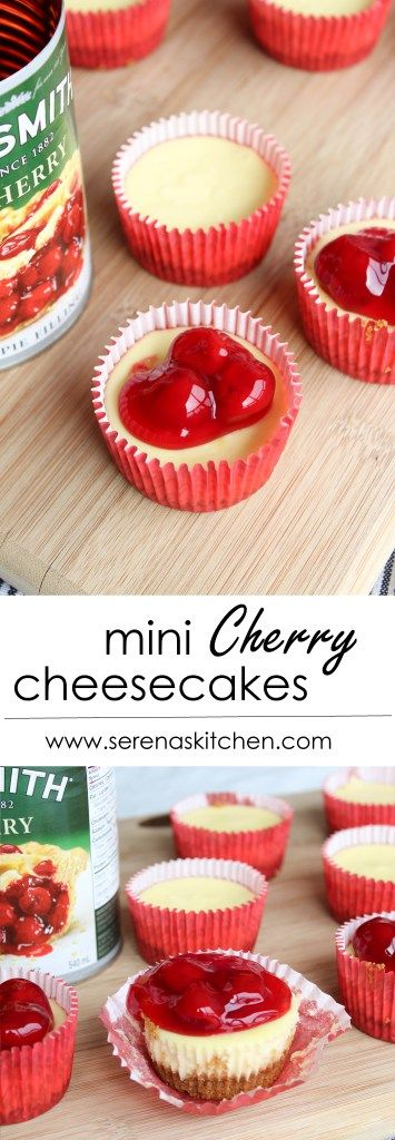 Mini Cherry Cheesecakes - Super creamy and smooth cheesecake on a graham crust, with cherry topping. Easy to make, and so cute in little mini size! via serenaskitchen.com #cherry #cheesecake