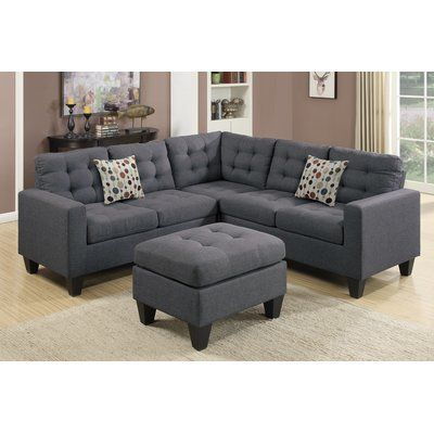 Andover Mills Pawnee 84 Symmetrical Sectional With Ottoman Wayfair Grey Sectional Sofa Small Sectional Sofa Sectional Sofa