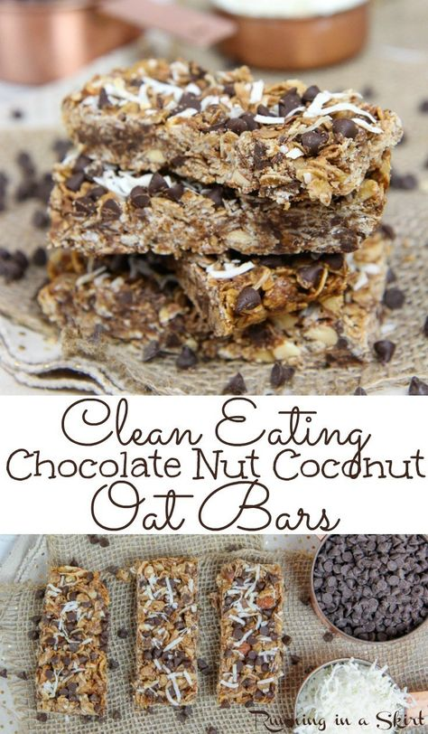 Clean Eating Oatmeal, Clean Eating Chocolate, Clean Eating Desserts, Oatmeal Bars Healthy, Eating Healthy, Eating Clean, Healthy Homemade Granola Bars, Baked Oatmeal Bars, Homemade Oatmeal Bars