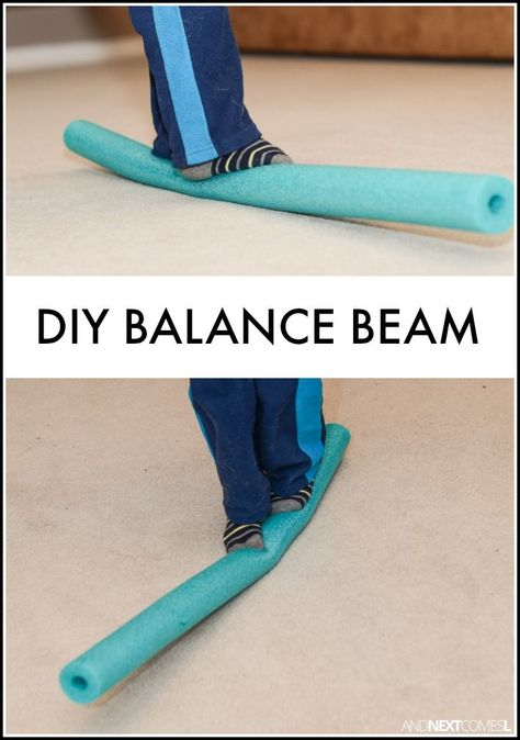 A way to create a balance beam inside. Children are able to work on their balance and gross motor skills. Add this pool noodle balance beam to an indoor obstacle. Kids Olympics, Summer Olympics, Sensory Activities, Toddler Activities, Sensory Rooms, Physical Activities, Dance Activities For Kids, Proprioceptive Activities, Sensory Tubs