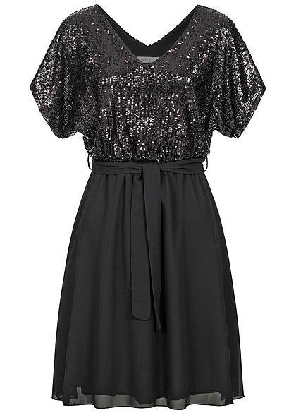 Hailys Damen V Neck Chiffon Pailletten Kleid Bindegurtel 2 Lagig Schwarz Pailletten Kleid Modestil Junge Mode
