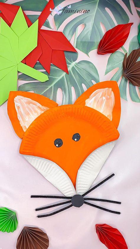 Pappteller-Fuchs - basteln im Herbst mit Kindern