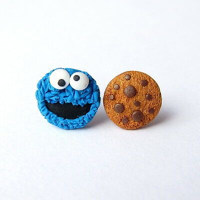 Polymer Clay Stud Funny Cookie Monster The Muppet Show Sesame Street Blue Girls Children Birthday Present Gift Idea Small Earrings Jewelry