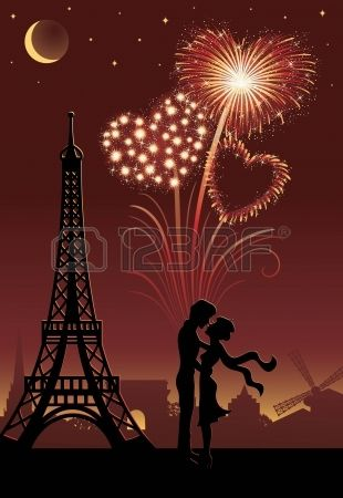 Silhouette of a couple in Paris Firework in a shape of heart on the red background  Stock Vector