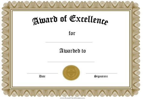Free Funny Award Certificates Templates Editable Award Of