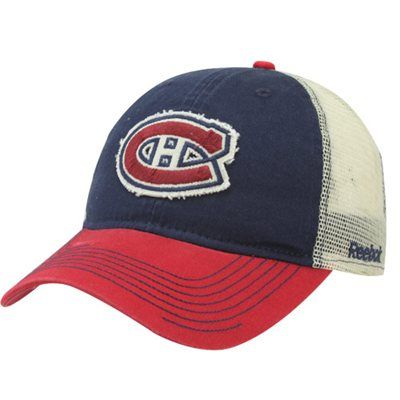 f782f786df7 Reebok Montreal Canadiens Slouch Adjustable Mesh Hat - Navy Blue Red  football fanatics .com