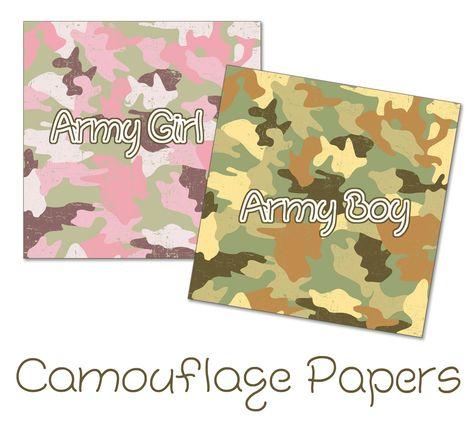 Digital Scrapbook Camouflage Papers Birthday Pinterest