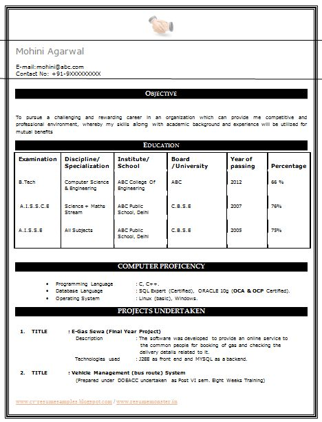 My First Resume Sample Template Of An Excellent B Tech Cse Resume Template For Freshers With Free Dowloa Resume Format First Resume Resume Format For Freshers