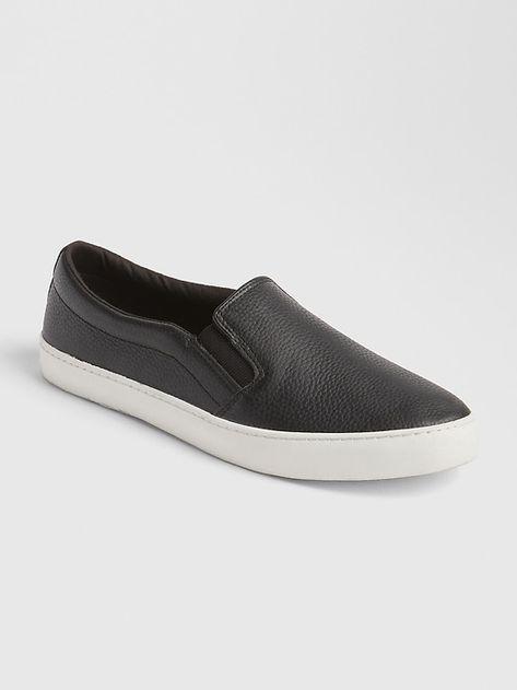Leather slip ons, Slip on sneakers