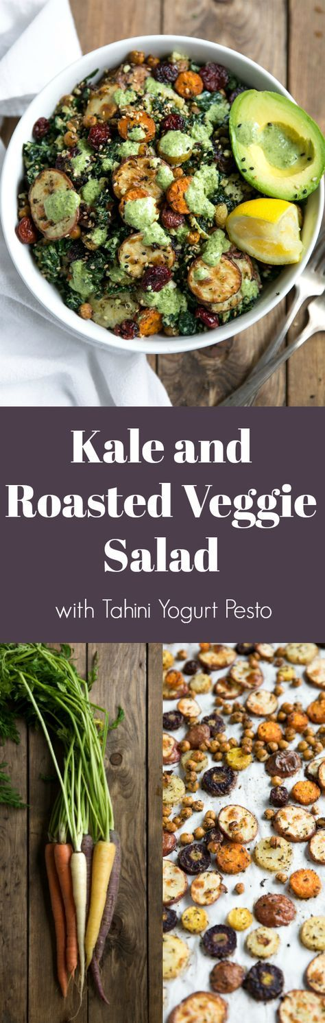 Kale and Roasted Veggie Salad with Tahini Yogurt Pesto #salad #healthy #recipe #carrots #avocado #tahini #vegetarian #dinner #potatoes ##roastedvegetables #pesto #cranberries