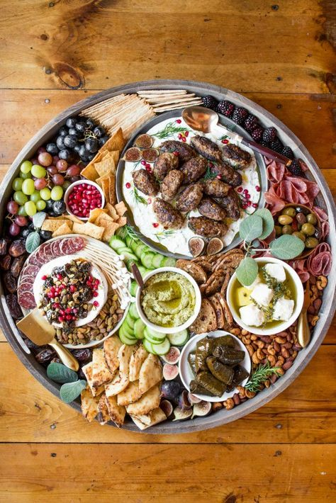 EPIC Lamb Kofta Charcuterie Board is a dinner board filled with Mediterranean and Middle Eastern flavors: Sage Lamb Kofta cured meats and cheese! Charcuterie Recipes, Charcuterie And Cheese Board, Party Food Platters, Cheese Platters, Falafel, Meze Platter, Greek Meze, Catering, Lebanese Recipes