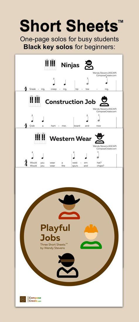 Easy black key piano solos about Ninjas, Construction jobs, and Western Wear! #piano #music #beginner #boys #western #cowboy #ninja #solo #teacher #teaching #repertoire #piece #easy