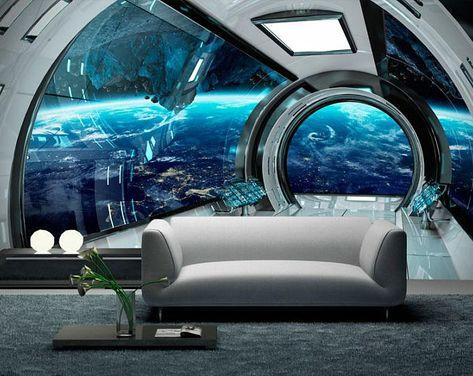 Wall mural sci-fi photo art. Wall mural futuristic spaceship   Etsy