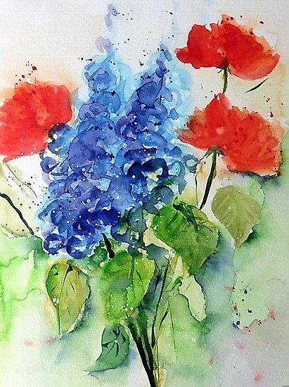 Wiesenblumen Fotodruck Blumen Kunst Aquarell Mohnblumen Blumen Aquarell