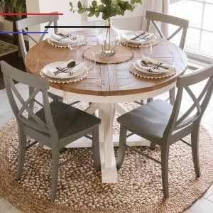 Hart Round Reclaimed Wood Pedestal Extending Dining Table Driftwood White Roundtabledecor Bauernhaus Kuchentische Kuchentisch Rund Esstisch Dekor
