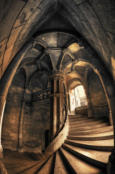 Spiral staircase at the Chateau de Blois, France. Art Et Architecture, Beautiful Architecture, Beautiful Buildings, Futuristic Architecture, Abandoned Mansions, Abandoned Places, Chateau De Blois, Stairway To Heaven, Medieval Castle