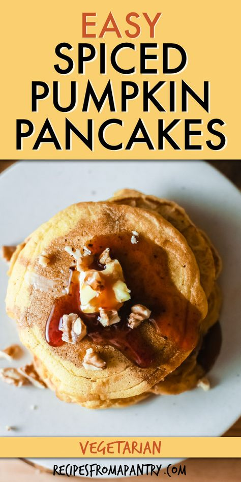 This Pumpkin Pancakes Recipe is full of amazing fall flavor! Easy to make with a handful of affordable everyday pantry ingredients, these pumpkin spice pancakes are just the thing for easy weekday breakfasts, lazy Sunday brunches, and my personal favorite - breakfast for dinner! You can even whip up a batch ahead of time when tackling your weekly meal prep. Click through to get this awesome pumpkin pancakes recipe!! #pancakes #pumpkinpancakes #easybreakfastrecipes #fallrecipes #pumpkinspice