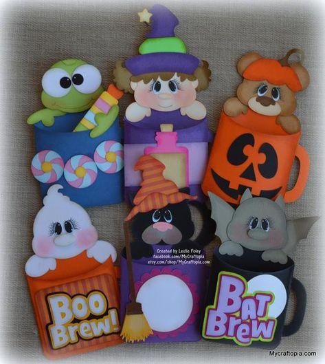 Halloween Frankenstein Witch Mummy Vampire Terror Bears Figurine Set of 4