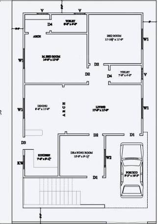 Image Result For 2 Bhk Floor Plans Of 25 45 Duplex House Plans House Layout Plans 30x40 House Plans